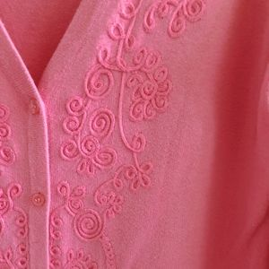 AGB Pink V-neck Embroidered Cardigan